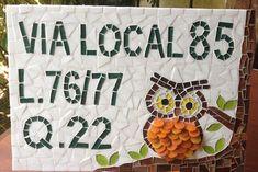 Número Residencial em mosaico Coruja G