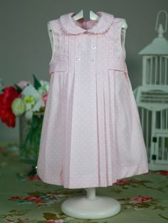 Vestido rosa topito blanco de Niña   Les Bébés