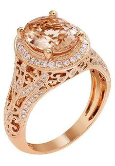 14k Rose Gold Morganite & Diamond Vintage-Inspired Ring – Sparkle & Jade