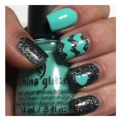 Aqua, Black Sparkle Nails Nails found on Polyvore featuring beauty products, nail care, nail treatments, nails and makeup