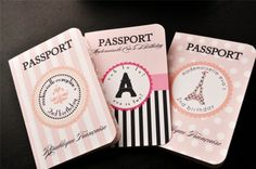 Parisian Themed Passport Invitations for Birthday Party, Bridal Shower, Bachelorette Party, Sweet 16. $39.00, via Etsy.