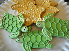 Items similar to Sea Creature Cookies Sea Turtle Starfish Sea Shell Sand Dollar Beach Theme Decorated Sugar Cookies Birthday Cookie Favors One Dozen on Etsy Summer Cookies, Fancy Cookies, Cut Out Cookies, Iced Cookies, Royal Icing Cookies, Heart Cookies, Cupcakes, Cupcake Cookies, Flower Cookies