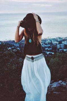 festival style, ibiza, boho, hippie, trend, maxi skirt, hat