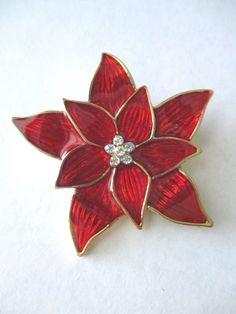 Vintage Pin Brooch EISENBERG ICE Red Enameled Poinsetta Rhinestone Center #Eisenberg