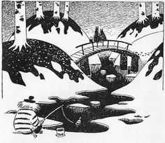 Illustration from Moominland Midwinter by Tove Jansson. Moomin Valley, Tove Jansson, Weird Creatures, Black And White Illustration, Children's Book Illustration, Illustration Styles, A Comics, Childrens Books, Poster Prints