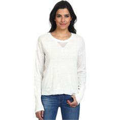 LAmade Open V-Neck Split Back Sweater Women's Sweater, White ($25) ❤ liked on Polyvore featuring tops, sweaters, white, layered sweater, loose sweater, long white sweater, loose fitting tops and long loose sweaters