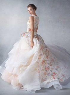 Lazaro printed flowers ball gown wedding dress 2016