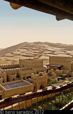 view from the room of the Qasr Al Sarab desert resort at the Empty Quarter in the UAE, the world's biggest sand desert.