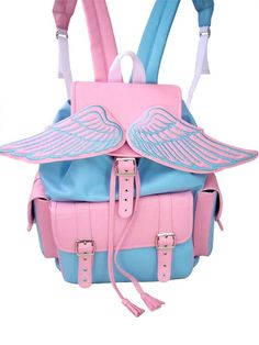 Pastel pink and blue angel backpack, carry bag. #winged wings