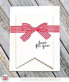 Jamie Gracz for Avery Elle: Scalloped Banner Die, Beautiful Bow Stamp Set, Cherry Pigment Ink Pad