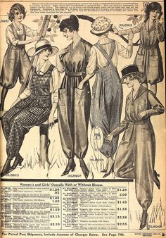 """1918 Sears Catalog - Women's 'Fashionable' Overalls """"have had such popular fervor and are worn so commonly that further recommendation is scarcely necessary"""""""