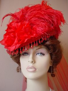 Victorian Ladies Tea Hat Red Hatter Red Beaded Bowler Millinery Riding Sass | eBay