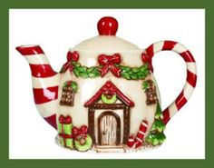 Dol Victorian Gingerbread House Christmas teapot, with candy cane stripe handle and spout, garland and red bow over door, ceramic