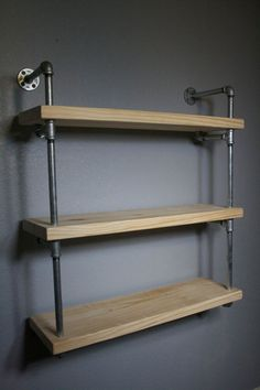 Wall Mounted Industrial Pipe Media Shelving, Industrial furniture, Media shelf,Shelving unit, Urban media shelving, Raw Urban Shelf