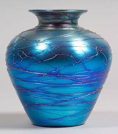 Durand Art Glass Spider web vase