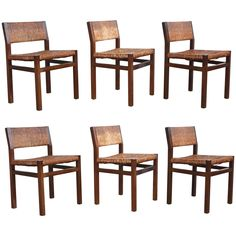 Set of Six Rush Dining Chairs   From a unique collection of antique and modern dining room chairs at https://www.1stdibs.com/furniture/seating/dining-room-chairs/
