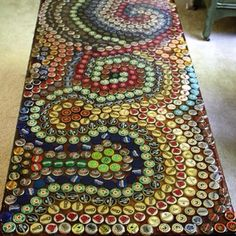 Bottle cap covered coffee table