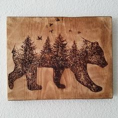 Beautiful bear with forest combination wood burned. Roughly 9x11. Each piece is ...  #9x11 #bear #beautiful #burned #combination #forest #piece #roughly #wood #Woodburning Wood Burning Crafts, Wood Burning Patterns, Wood Burning Art, Wood Crafts, Wood Burning Projects, Wood Burning Stencils, Diy Crafts, Into The Woods, Wood Projects