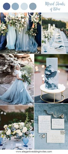 Romantic mixed shades of blue beach wedding inspiration for 2018 trends wedding flowers 10 Prettiest Blue Wedding Color Combos for 2018 & 2019