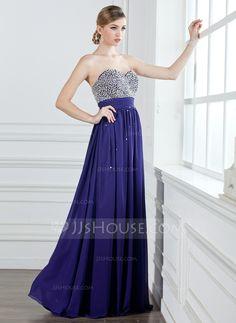 A-Line/Princess Sweetheart Floor-Length Chiffon Prom Dress With Ruffle Beading Sequins (018004908)