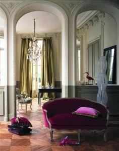 Italian Luxury Fadini-Borghi   Pierre Frey Magazine Magenta, purple & soft chartreuse.