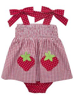 82d2ee665b11 Rare Editions Baby Girls Red White Checked Strawberry Seersucker Dress Set  Strawberry Baby