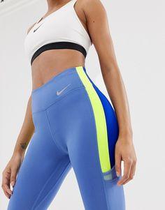 Shop Nike Training Colourblock Leggings In Blue And Lime at ASOS. Nike Bra, Tri Suit, Scarf Dress, Workout Attire, Blue Leggings, Moda Fitness, Gym Wear, Hosiery, Fitness Fashion