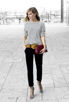 Stunning colourful belt brings some life to this classic black and white ensemble. Perfect use of a belt. | 7 Ways to Dress up a Casual Outfit.