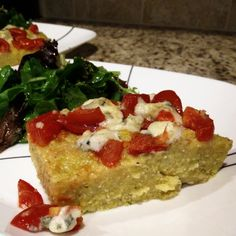 Polenta cake with tomatoes & blue cheese