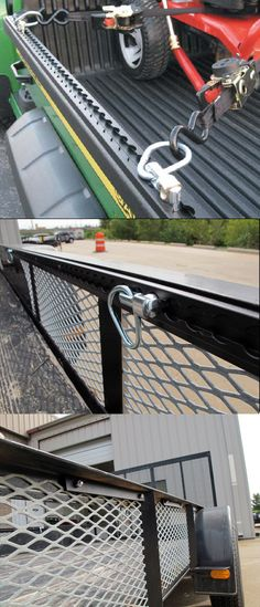 Secure the cargo in your trailer with minimum effort and maximum security- the AnchorTrax Truck Bed and Trailer Cargo Control System with sliding tie-downs is the ideal transportation idea when it comes to trailer accessories! Sliding D-rings accommo Trailer Ramps, Off Road Trailer, Trailer Build, Car Trailer, Utility Trailer, New Trucks, Cool Trucks, Pickup Trucks, Land Cruiser