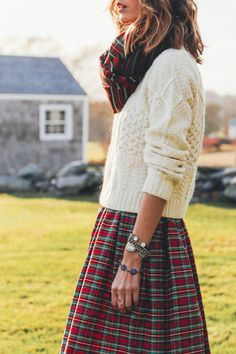 HOLIDAY STYLE // GLITTER SNEAKERS AND PLAID MIDI SKIRT