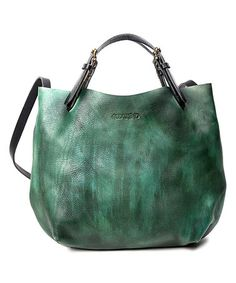 Another great find on #zulily! Vintage Green Dip-Dye Leather Mini Tote by OLD TREND #zulilyfinds