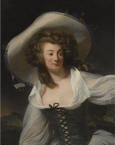 Danloux. Henri-Pierre - PORTRAIT OF THE ARTIST'S WIFE MARIE-PIERRETTE-ANTOINETTE DANLOUX, NÉE DE SAINT REDAN (1765-1844), HALF LENGTH, WEARING A WHITE HAT.  PARIS 1753 - 1809.