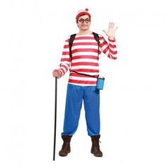 Disfraces Personajes hombre | Disfraz de Wally.  A ver quién te encuentra. Contiene pantalón, camiseta de rayas y gorrito. Talla M/L. 15,95€ #wally #disfrazwally #disfraz #disfrazpersonaje #disfraces