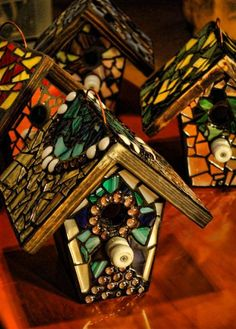 Custom STAINED GLASS Mosaic Birdhouse Top and by KimberlyMoon, $75.00