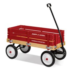 Radio Flyer Town Country Wagon Ride On Push Pull Red Wooden Side Handle Riding  #RadioFlyer