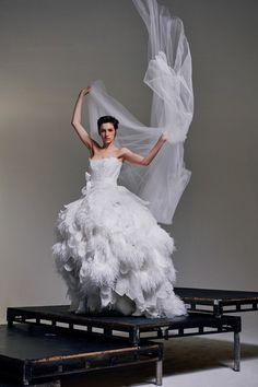 Feather lace princess dress in silk organza by Vivienne Westwood Bridal Looks, Bridal Style, Vivienne Westwood Wedding Dress, White Lace Gown, Couture Fashion, Wedding Styles, Wedding Ideas, One Shoulder Wedding Dress, Marie