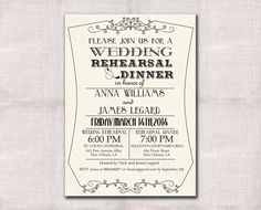 Wedding Rehearsal and Dinner invitation by DarlinBrandoPress, $18.00