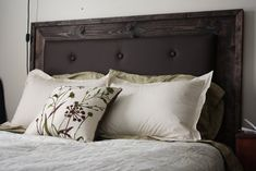 This is almost exactly what i need to leather up our new bed!!! More Like Home: Simple Upholstered Headboard