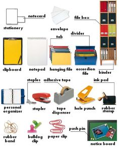 Office supplies : stationery, notecard, envelope, clipboard, notepad, hanging file, accordion file, file box, binder, rubber stamp, ink pad, personal organizer, stapler, tape dispenser, hole punch, rubber band, bulldog clip, paper clip, notice board, push pin, tab, divider, adhesive tape, staples