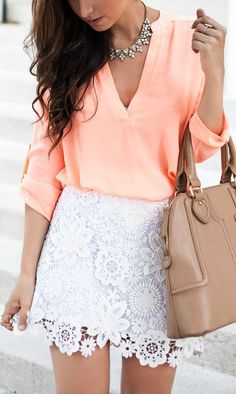 Coral + lace.