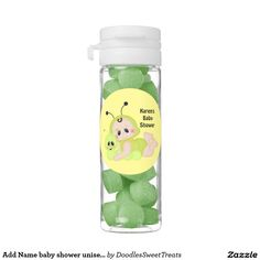 Add Name baby shower unisex flip top tube Chewing Gum Favors