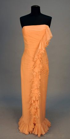 JEAN DESSES STRAPLESS CHIFFON EVENING GOWN, MID 20th C.