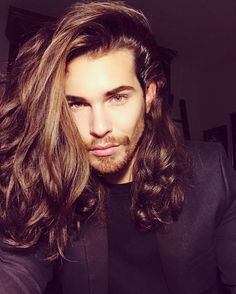 So sexy my darling can i set ure hair in curlers and we mk love afterwards as 2 guys husband and wife Long Hair Beard, Long Hair Guys, Hair And Beard Styles, Curly Hair Styles, Gorgeous Men, Beautiful People, Dream Hair, Haircuts For Men, Hair Goals