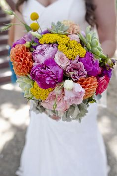 Pink Cupcake Weddings: Real Wedding: Katie and Eric; bridal bouquet; bright colored florals; photography by Nick Charrow