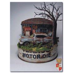 Old Gas Station By: Guto veiga From: Pinterest  #scalemodel #plastimodelismo #miniatura #miniature #miniatur #hobby #diorama #humvee #scalemodelkit #plastickits #usinadoskits #udk #maqueta #maquette #modelismo #modelism Anexo Adicionar anexo