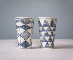 Tumblers with Triangle and Diamonds:  Porcelain, Inlaid Slip  www.gisellehicks.com