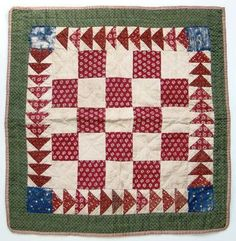 Mid 1800s Red Green Calico One Patch Doll Quilt - Hand Quilted Flying Geese.