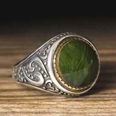 925 K Sterling Silver Man Ring Green Amber 10,5 US Size $17.90