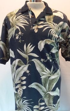 HAWAIIAN RESERVE Multi-color Floral Men's POLO SHIRT 100% Cotton Size LARGE  #HawaiianReserveCollection #Polo